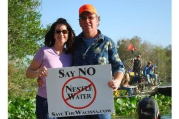 Activists protesting Nestle water