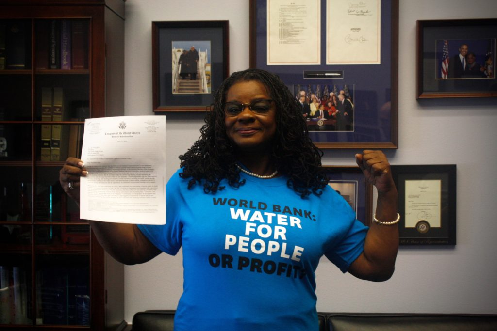 Rep Gwen Moore in her office in Washington D.C. supporting democratic control of water.