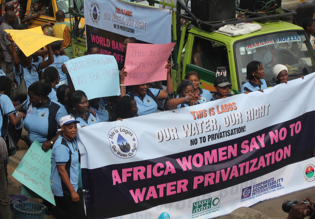 Women in Lagos demand a strong, public water system.