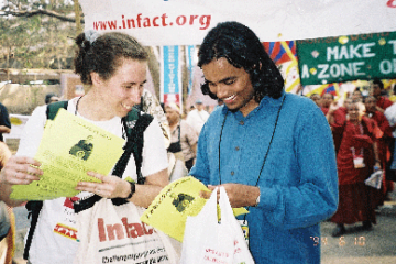 Patti Lynn organizing for the global tobacco treaty in 2004