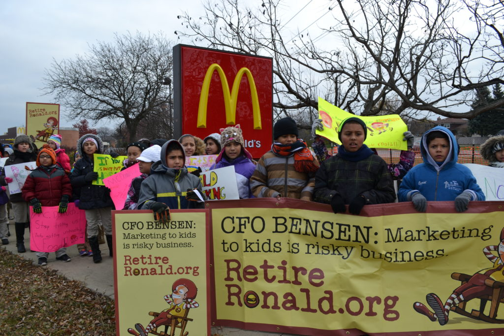 Children protesting outside of McDonald's in Downer's Grove, IL.