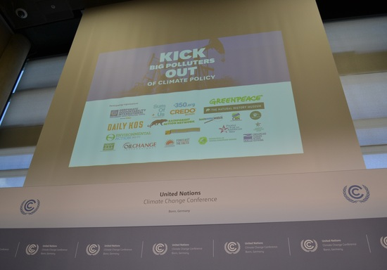 Display at the press conference of logos from many of the organizations jointly calling on the UNFCCC to kick big polluters out of climate policymaking.