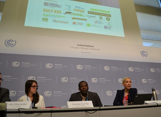 Panelists (left to right) Jesse Bragg of Corporate Accountability International, Alix Mazounie of Réseau Action Climat-France, Godwin Ojo of Environmental Rights Action/Friends of the Earth Nigeria and Tamar Lawrence-Samuel of Corporate Accountability International called on the U.N. to insulate climate talks from big polluters at a press conference in Bonn, Germany on Wednesday. Photo credit: Corporate Accountability International