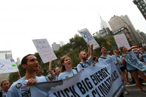 Our organizers rally the crowd to Kick Big Energy out of Climate Talks