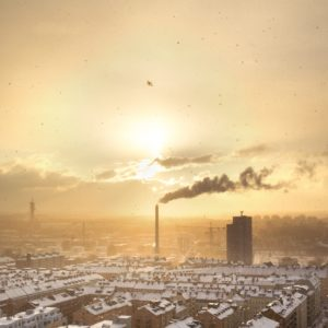 Bird's-eye view of factories polluting a town at sunset. Photo: Petter Rudwall