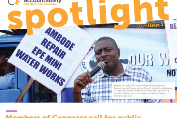 The front cover of Spotlight, Corporate Accountability's newsletter.