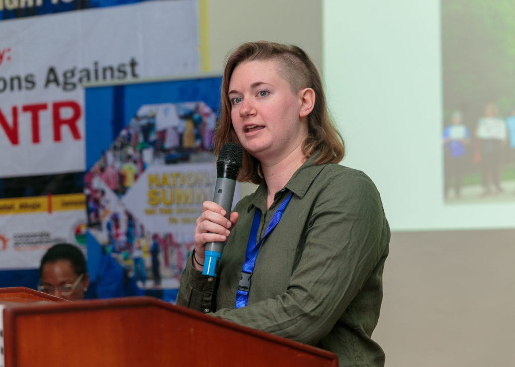 Ally Shaw of Pittsburgh United speaks to attendees at the National Water Summit in Abuja, Nigeria. CREDIT: BABAWALE OBAYANJU