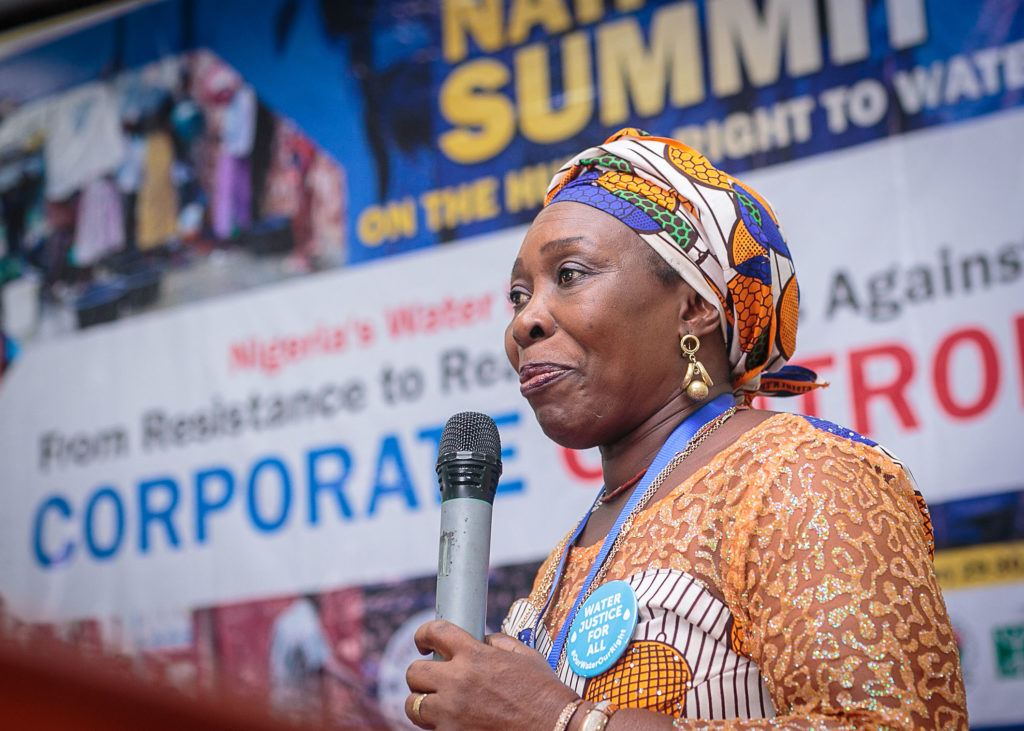 Vickie Uremma, AWWASHNET chairperson, speaks to attendees of the National Water Summit in Abuja, Nigeria. CREDIT: CREDIT BABAWALE OBAYANJU