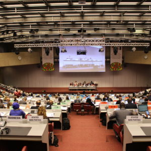 Convention hall of global tobacco treaty talks 2018