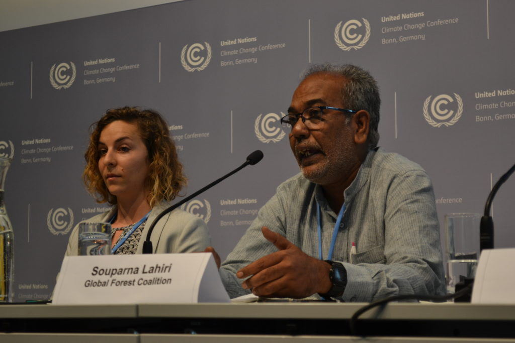 Souparna Lahiri of Global Forest Coalition at climate talks in Bonn, June 2019.