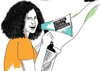 Illustration of woman organizer, holding a mega phone and a clipboard, about to walk down a path to victory.