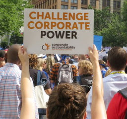 """Protester holding up a sign that says """"Challenge corporate power"""""""
