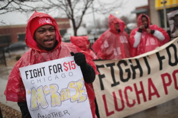 Workers protesting for a $15 minimum wage
