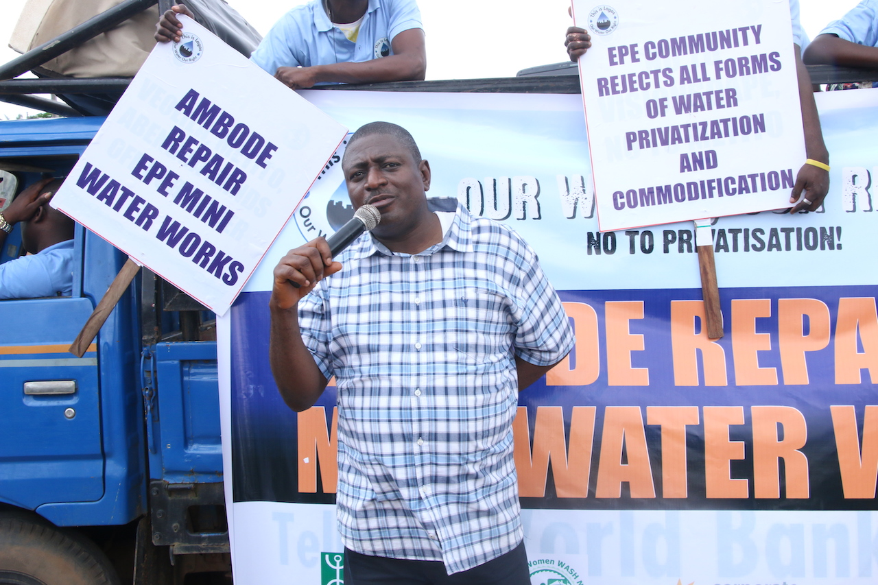 "People gather at a ""Our Water, Our Right"" rally in Lagos."