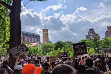 Protest for Black Lives Matter, demanding that governments defund the police and support Black communities.