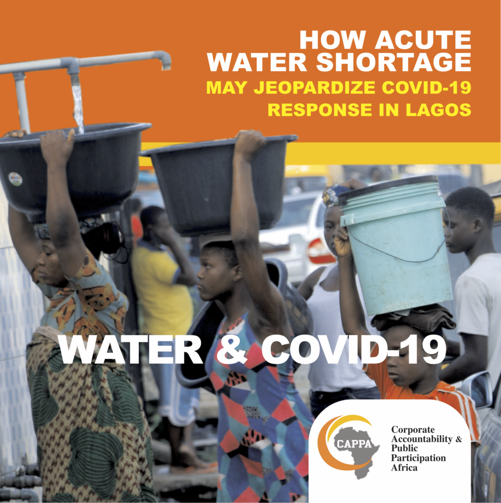 report cover shows people in Lagos carrying buckets of water for the families.